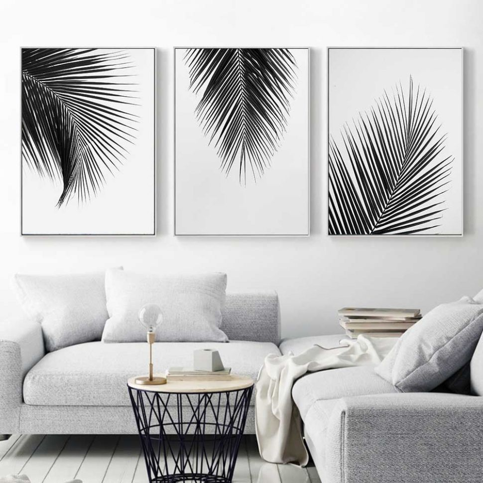 $11.11 - Black White Plant Coconut Leaves Canvas Poster Art Print ..