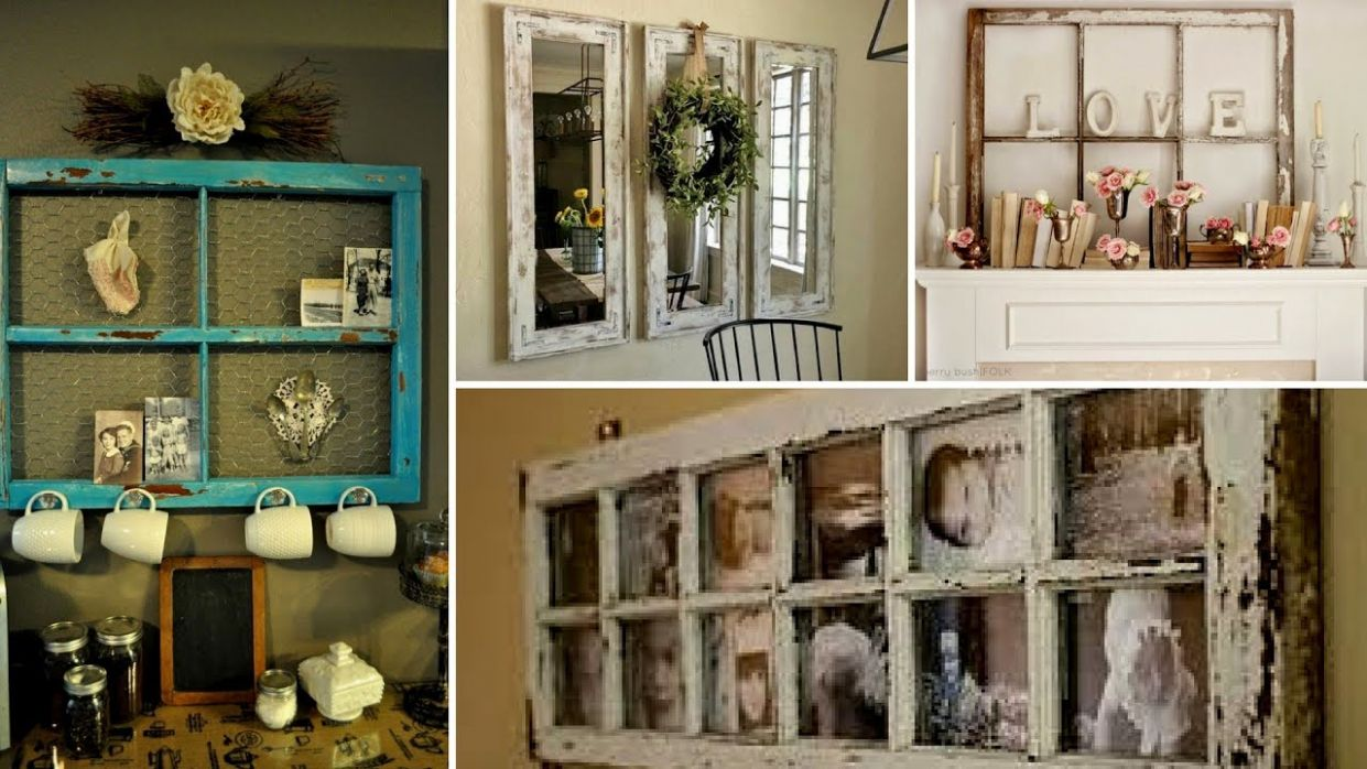 ?11 DIY Creative Ways To Reuse/Re-purposed Old Windows - How To Decor  Vintage Room Ideas 11? - window ideas home decor