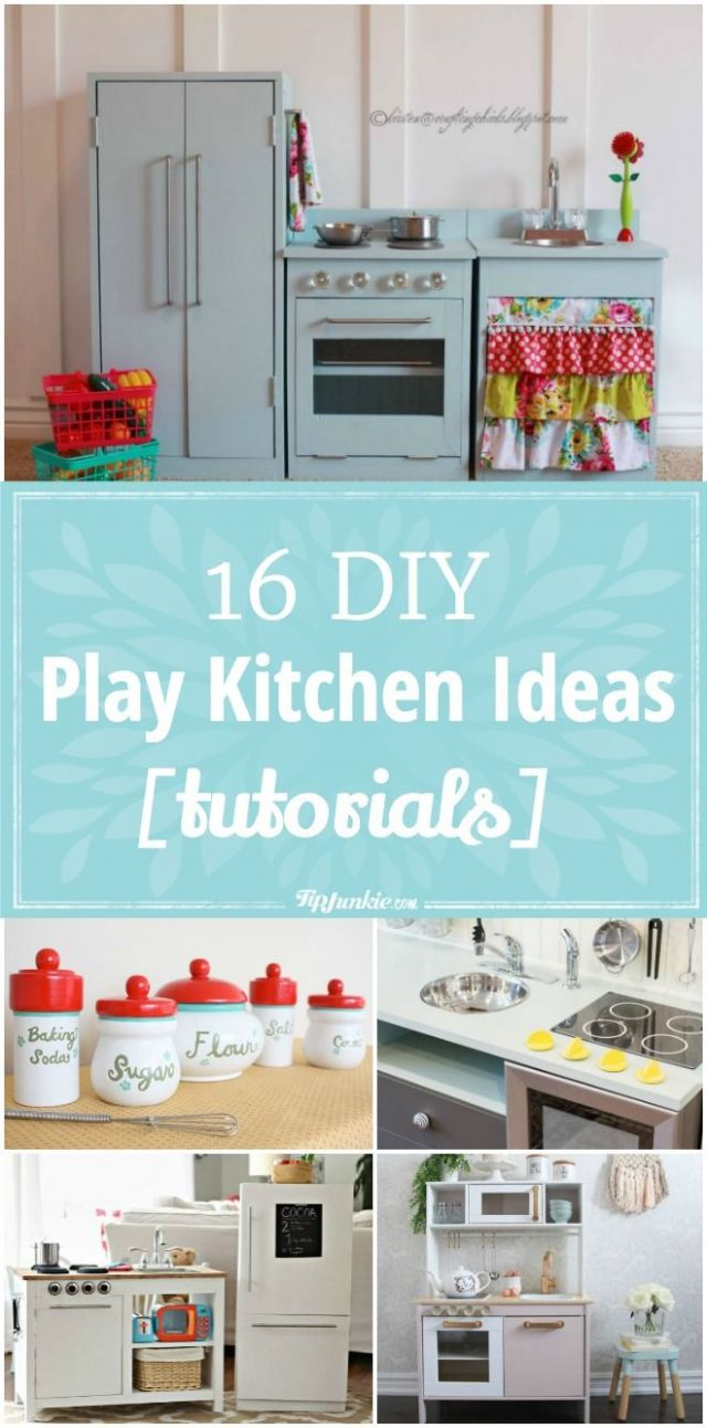 11 DIY Play Kitchen Ideas [tutorials] | Diy kids kitchen, Diy play ..