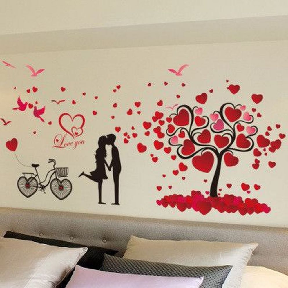 11+ Lovely Bedroom Decoration Ideas For Valentines Day - TRENDUHOME - wall decoration ideas for valentine