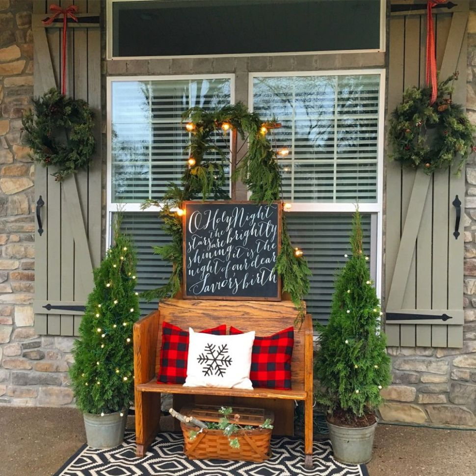 11 Outside Christmas Decorations for Your Front Porch - front porch decor with bench