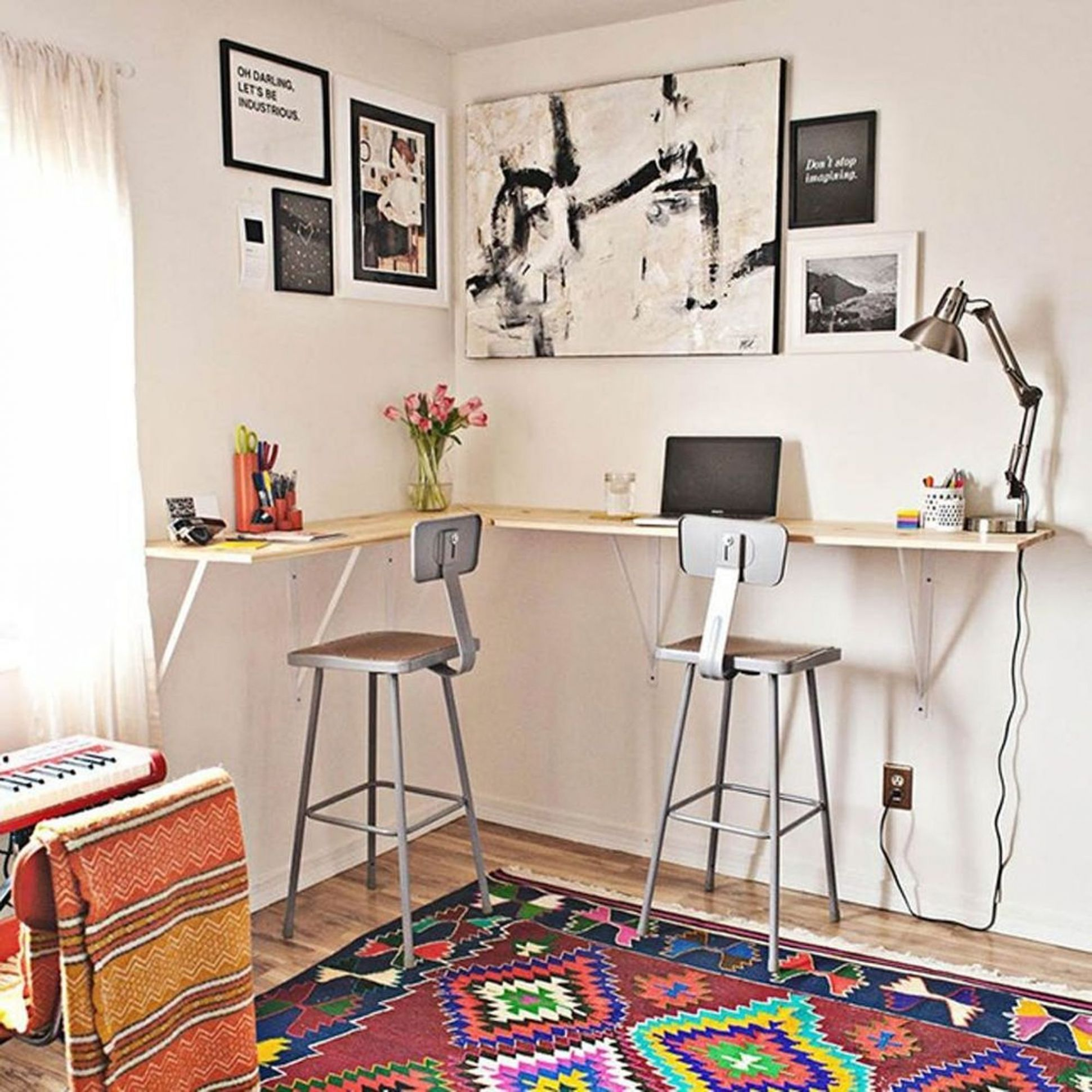 11 Space-Saving Wall-Mounted Desks to Buy or DIY - Brit + Co - home office ideas with standing desk