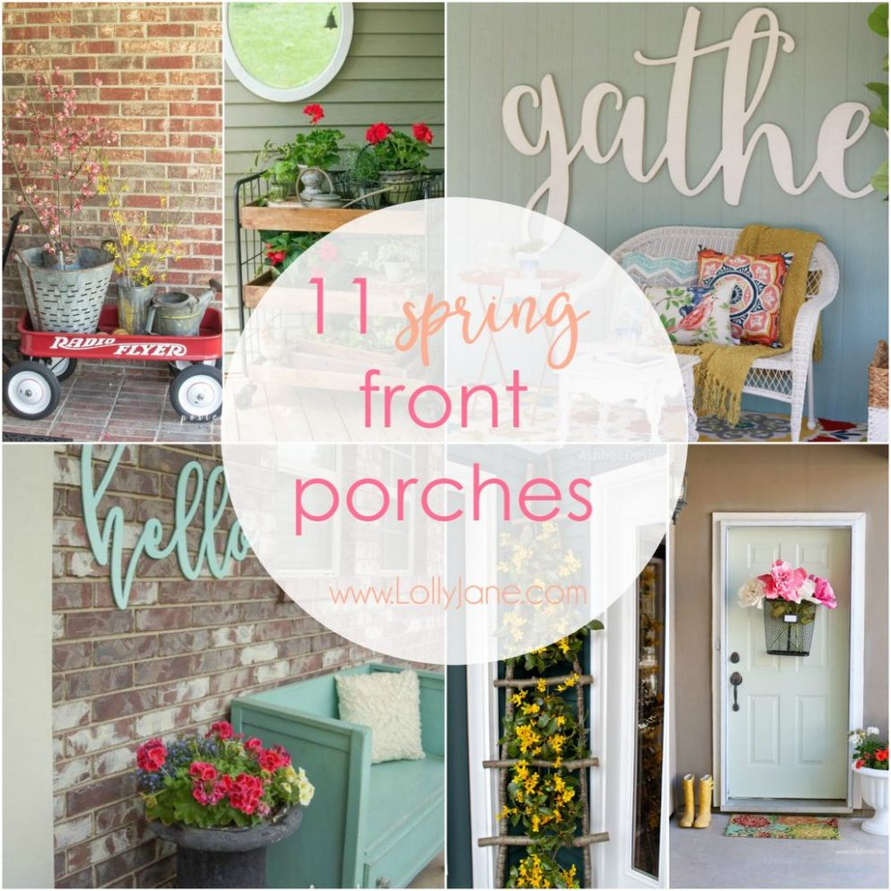 11 spring front porches - Lolly Jane - front porch decor spring