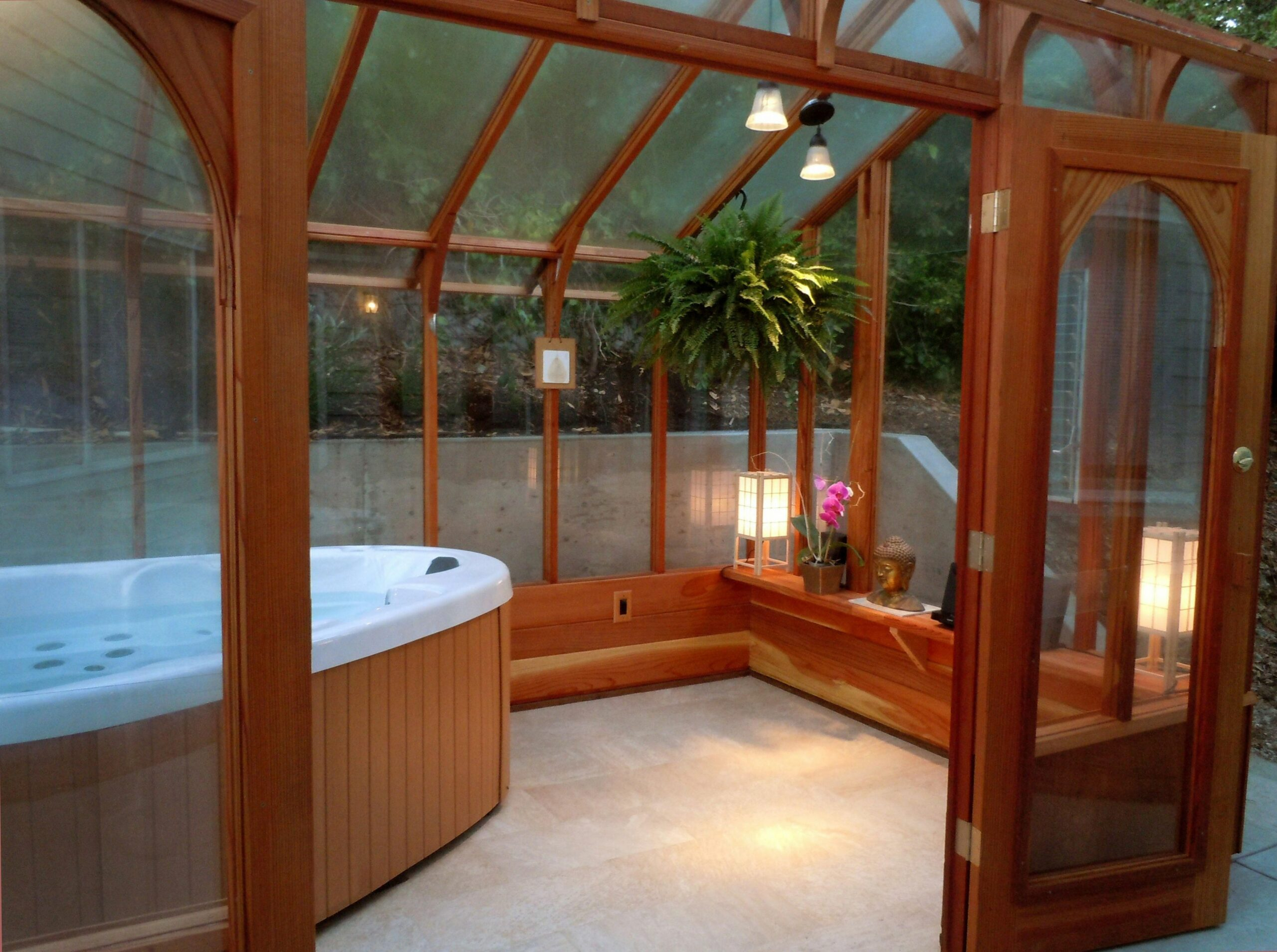 11' x 11' Nantucket Greenhouse with Hot Tub. Covered hot tub | Hot ...