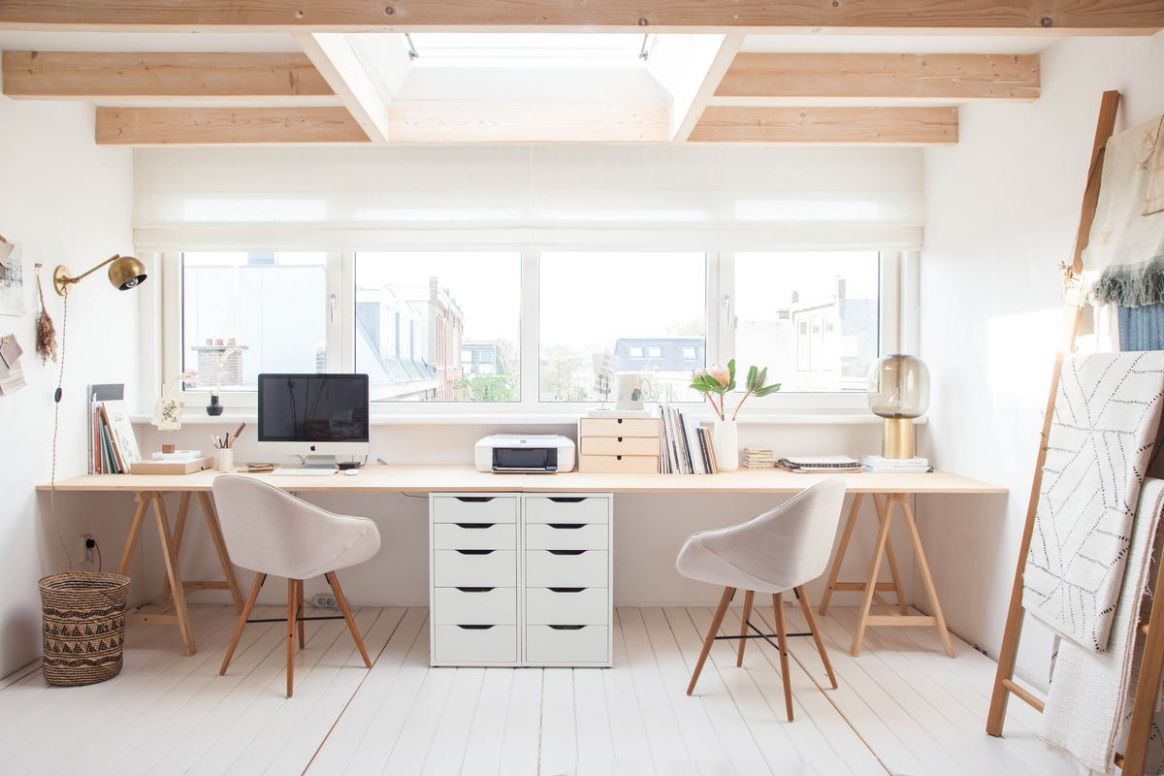 112 Inspirational Home Office Workspaces That Feature 12 Person Desks - home office ideas with two desks
