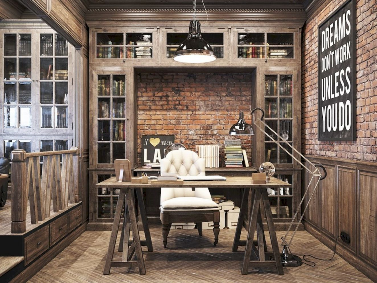 12 Amazing Rustic Home Office Furniture Ideas | Rustic home ..