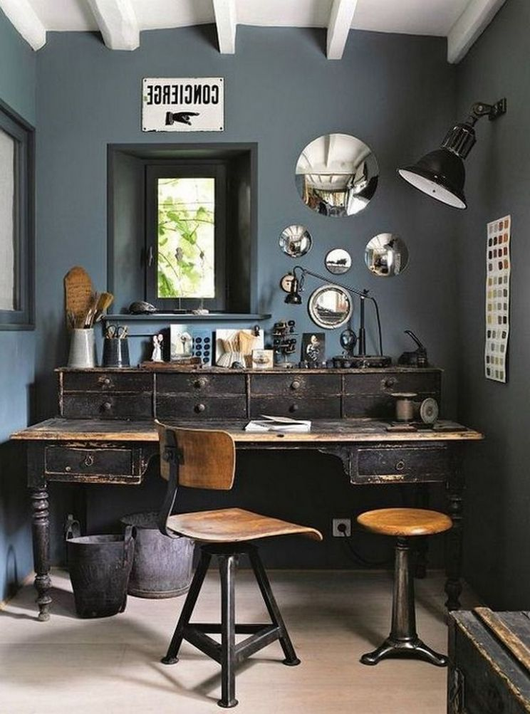 12+ Awesome Vintage Home Office Designs and Decorating Ideas for Men - vintage home office desk ideas