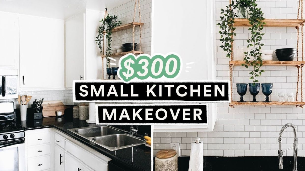 $12 DIY SMALL KITCHEN MAKEOVER & REVEAL - Renter + Budget Friendly!!