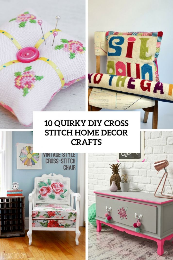 12 Quirky DIY Cross Stitch Home Decor Crafts - Shelterness