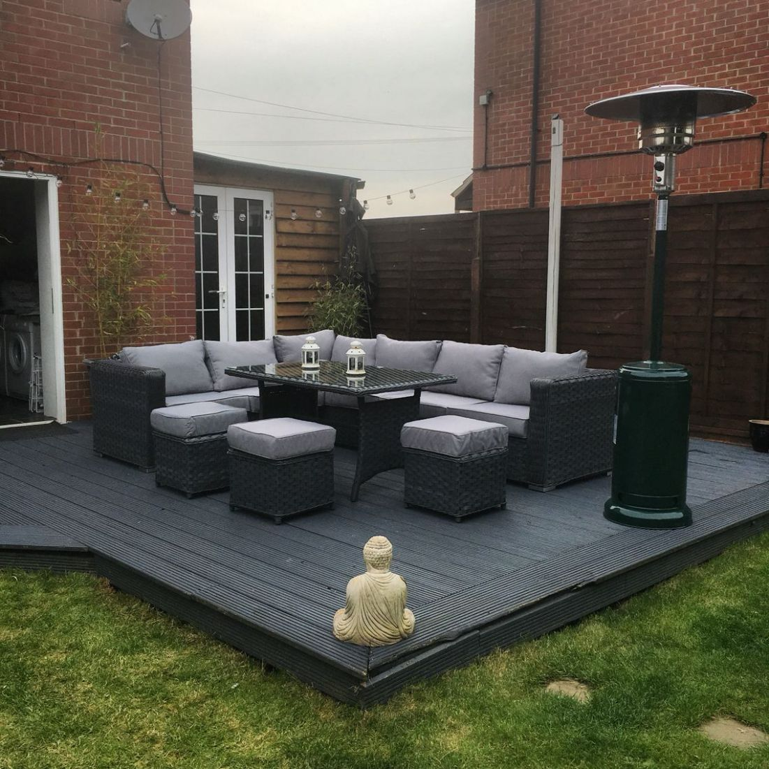 12 seater rattan garden furniture.. Grey decking.. Garden Makeover ..