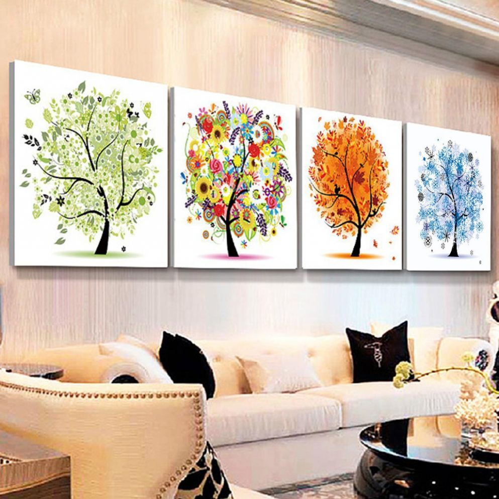 12D Four Seasons Tree Diaond Painting Cross-Stitch Home Decor - home decor shopee