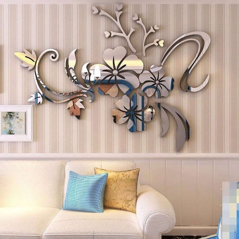 12D Mirror Flower Removable Wall Sticker Art Decal Home Decor - home decor shopee