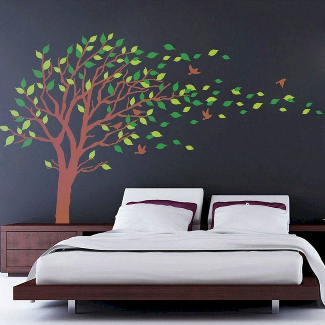 8 Impressive And Comfortable Bedroom Design With Tree Wall Decor ...