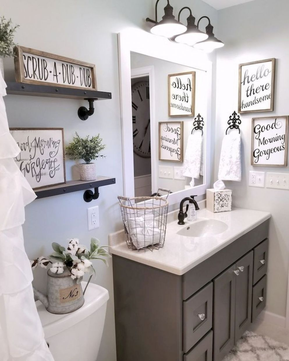 8 Spectacular Farmhouse Bathroom Decor Ideas | Badezimmer dekor ...