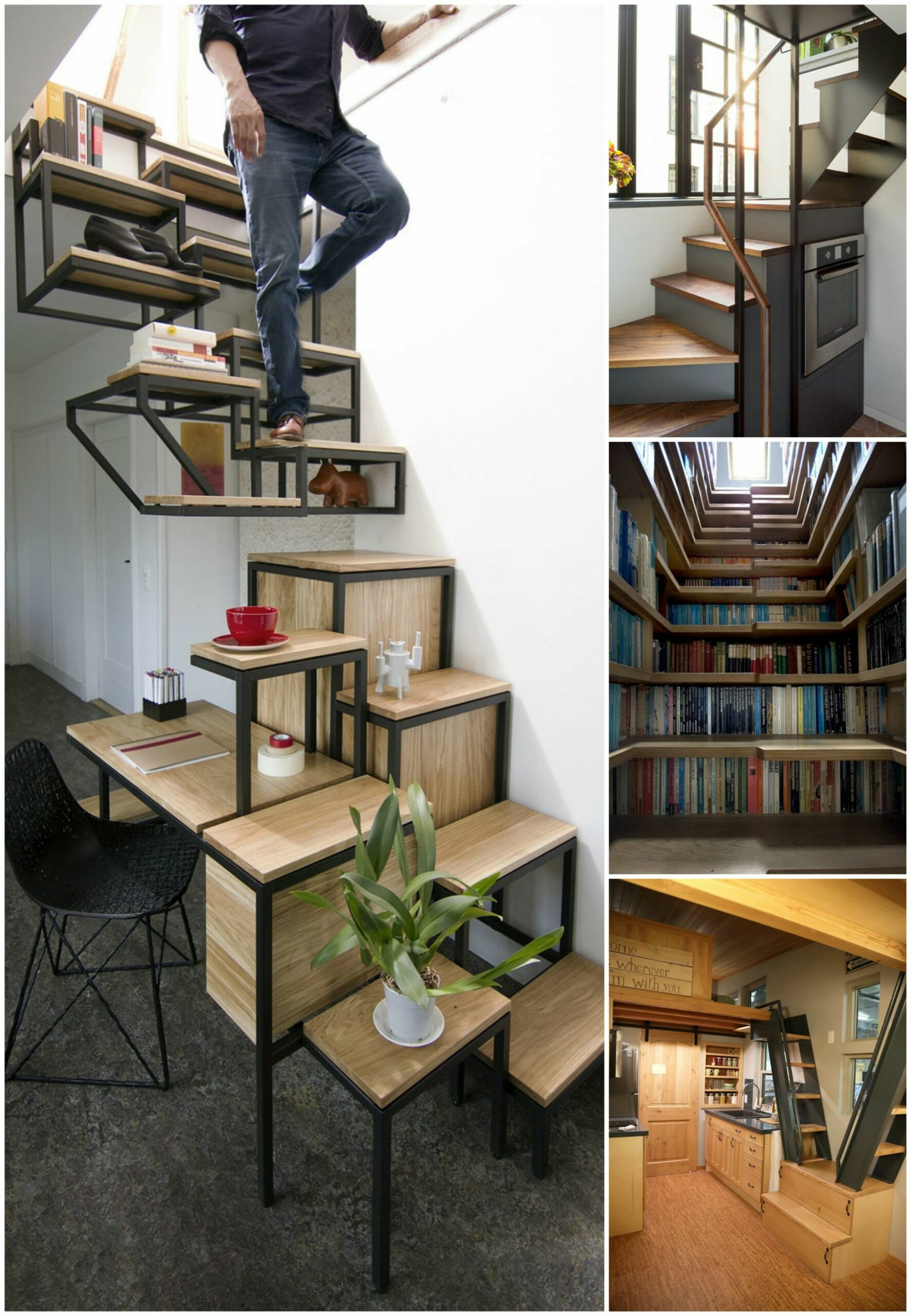 8 Tiny House Staircase Ideas - Off-Grid Tiny House - tiny house stairs