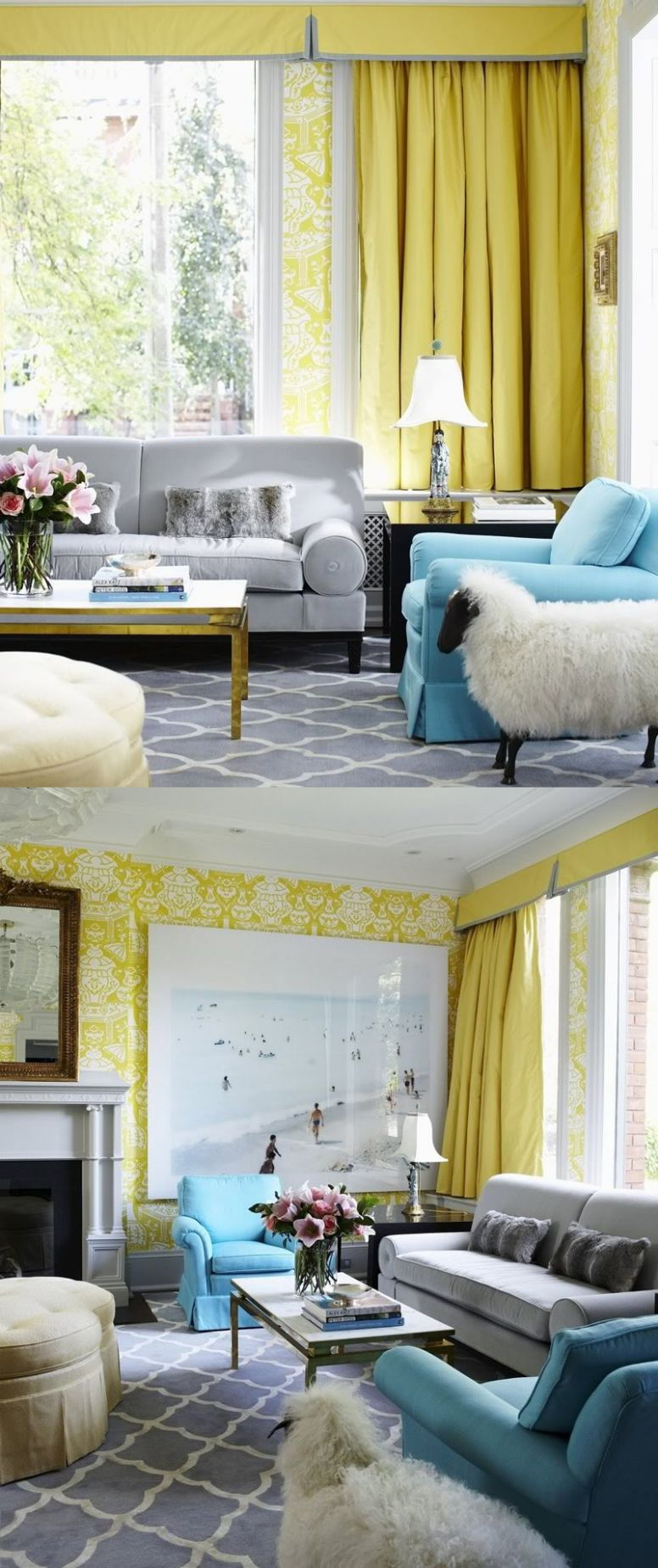 8 yellow duck egg blue grey living room | Interior Design Ideas