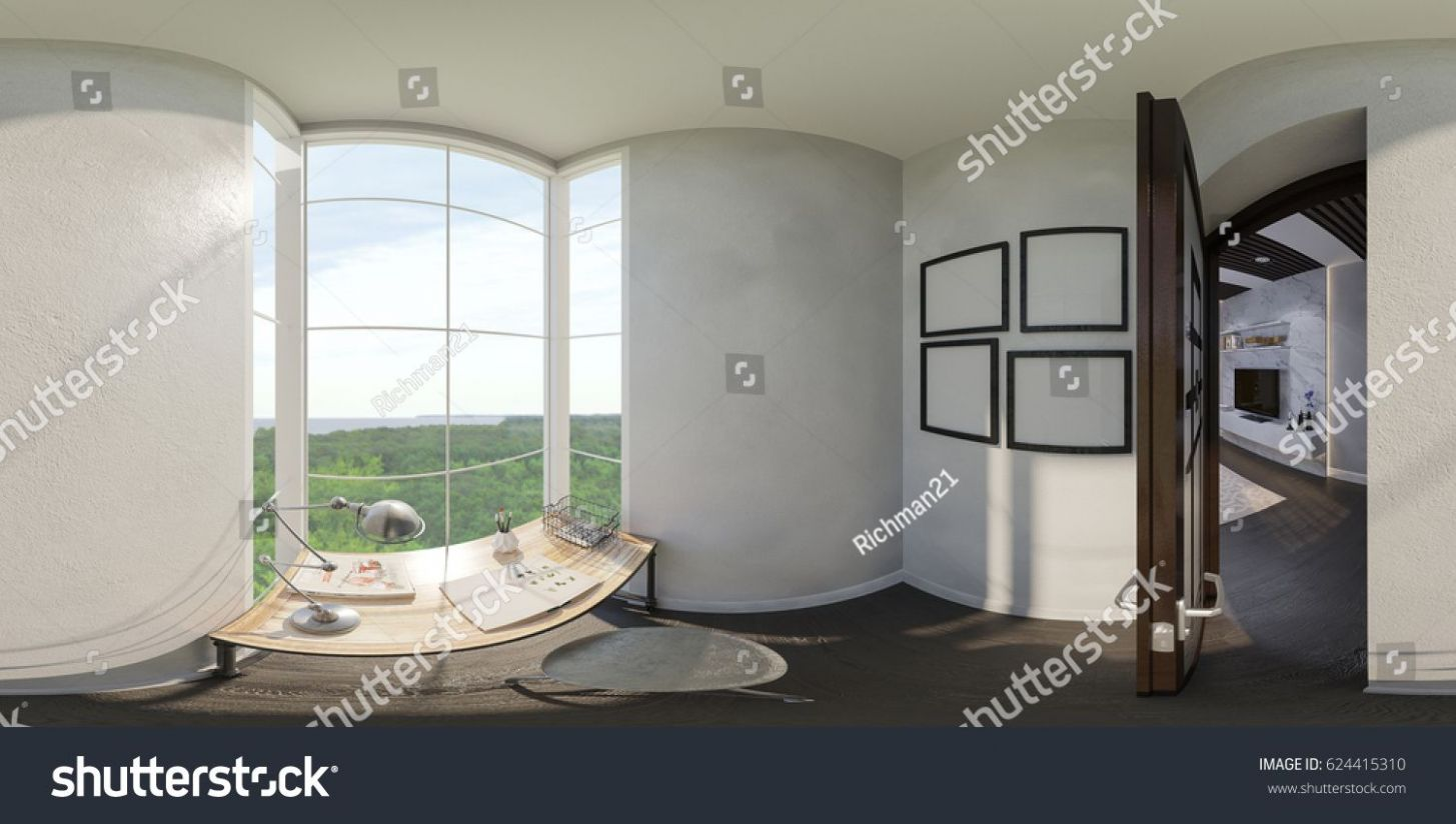 8d illustration of the interior design of the small home office ..