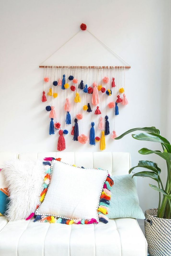 9 Easy Wall Decor DIY Living Room Art Ideas | Bommel machen, Diy ...