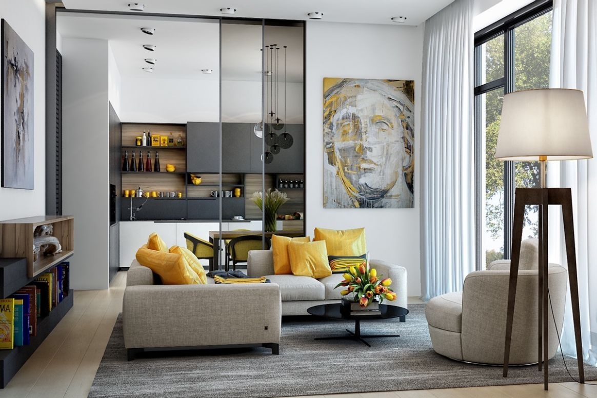 9 Gorgeous Yellow Accent Living Rooms