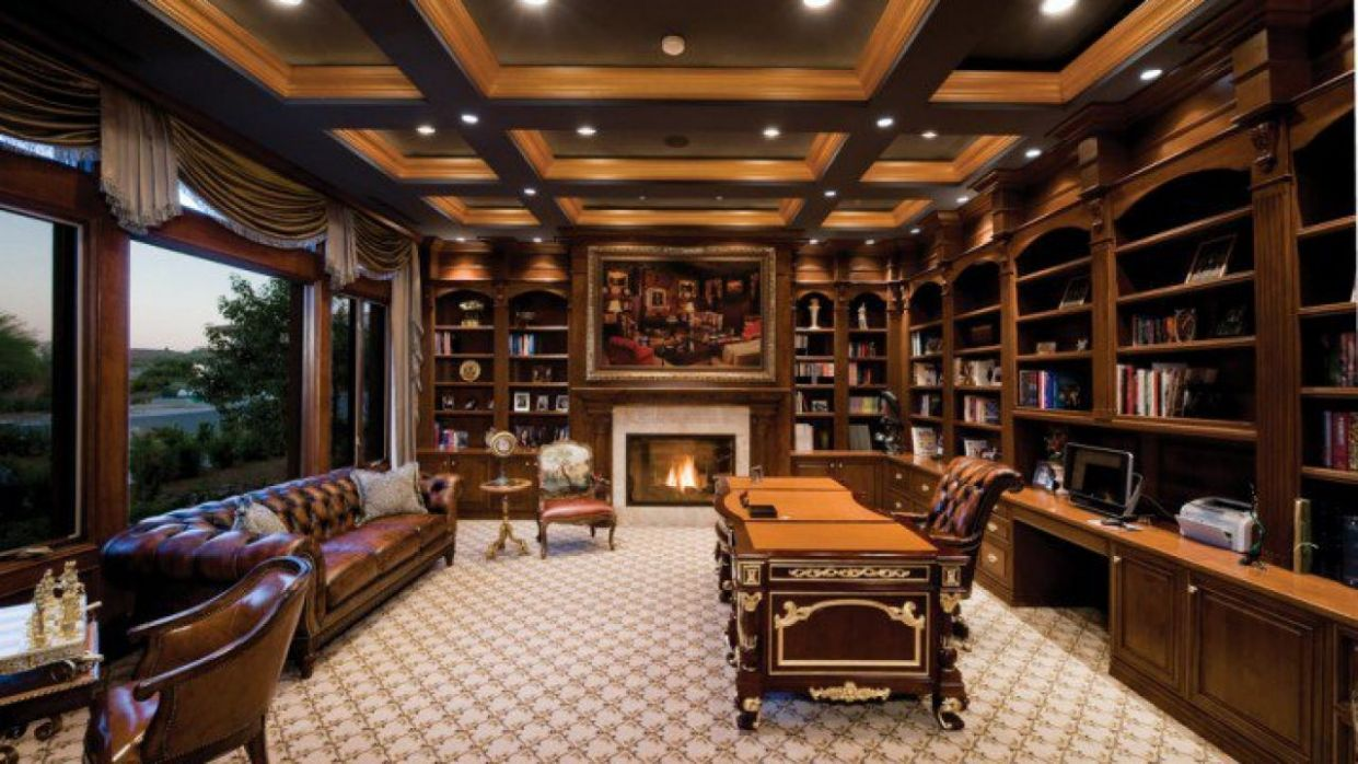 9 Irreplaceable Home Office Ideas With Beautiful Fireplace - nice home office ideas