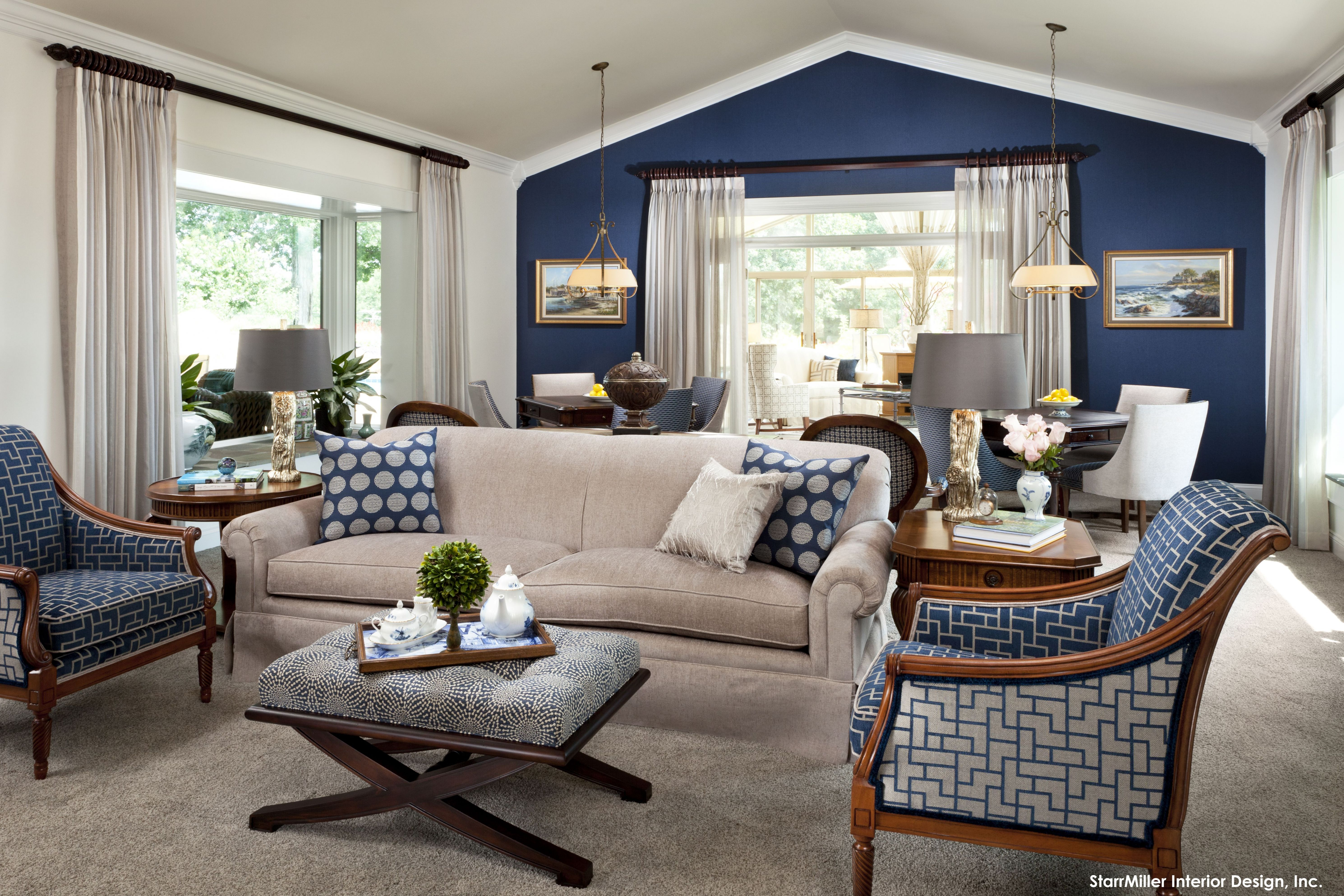 9 Lovely Living Room Designs with Blue Accents | Beige living ...