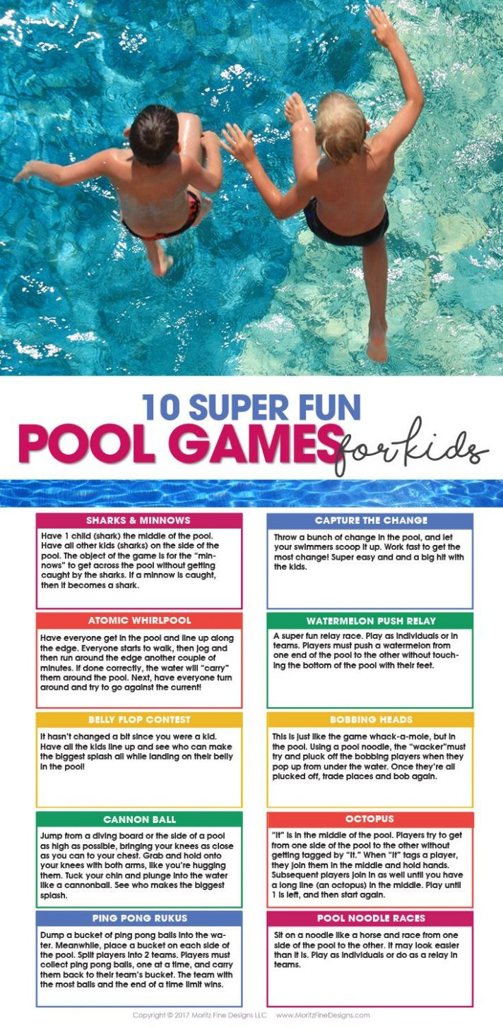 9 Pool Games For Kids & Free Printable | Pool games, Pool games ...