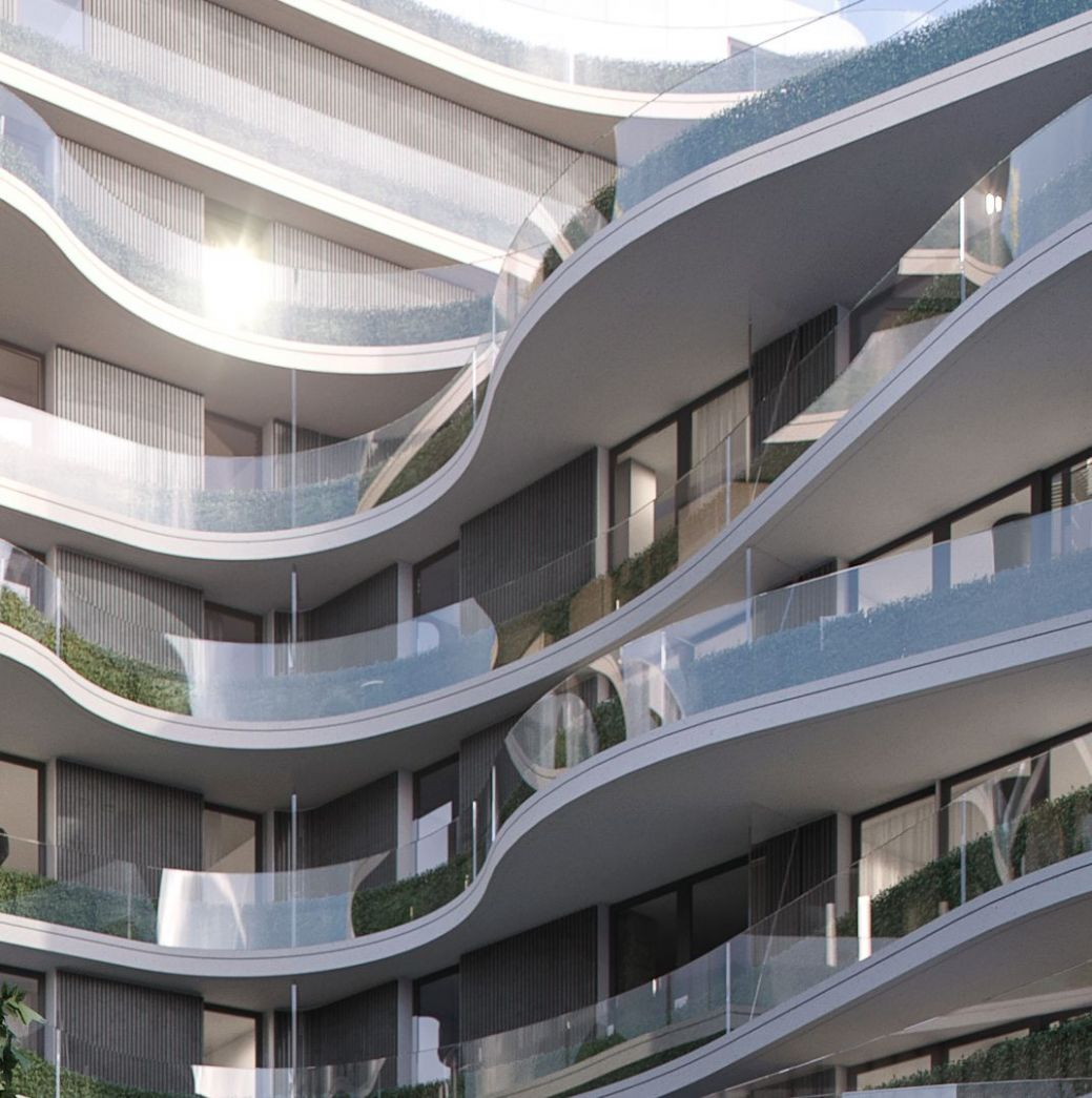 A close look at the flowing glass balconies that make up the ..
