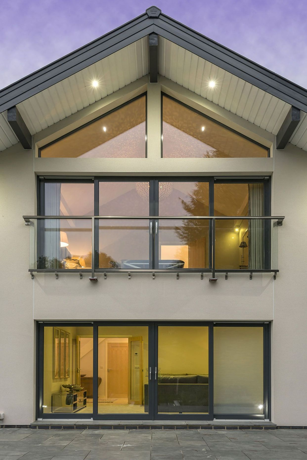 A close up of our modern minimalist glass juliet balcony on our ..