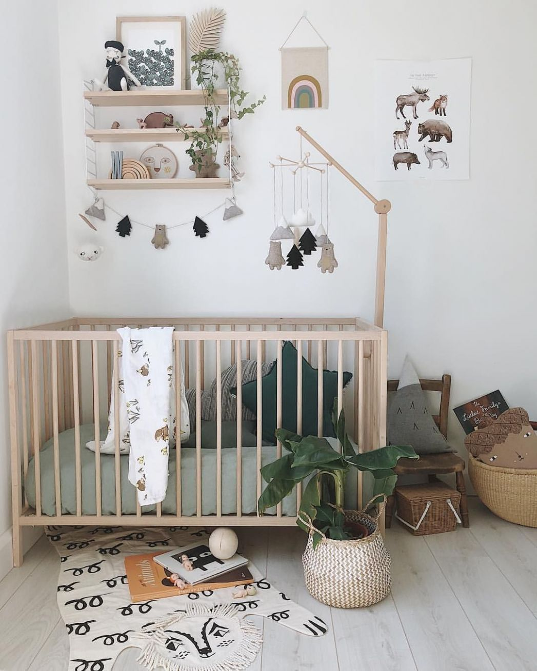 A natural Nursery with Velveteen Babies Mountain Bear Garland and ...