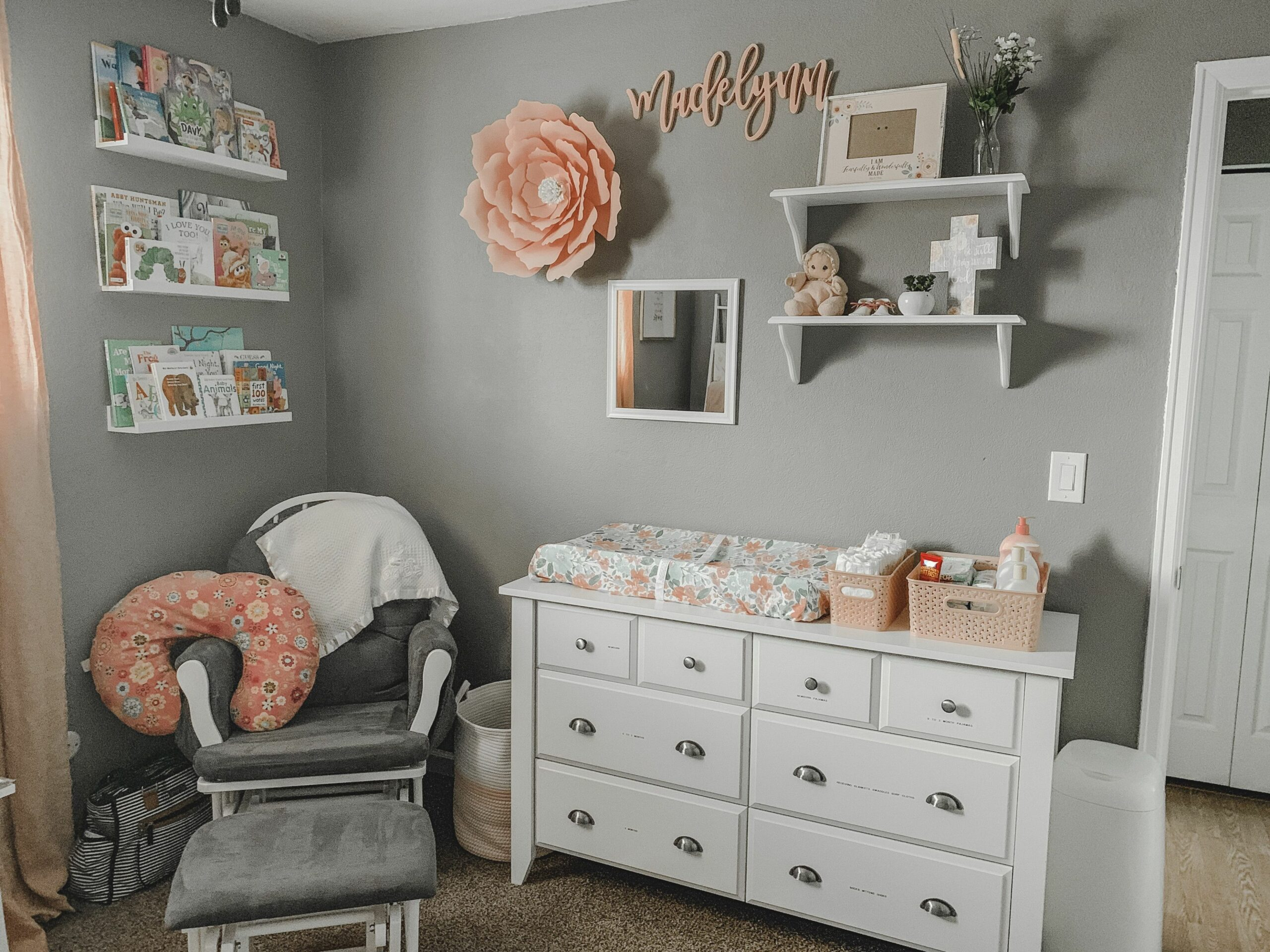 Above changing table decor, floral nursery, books, wall decor ...