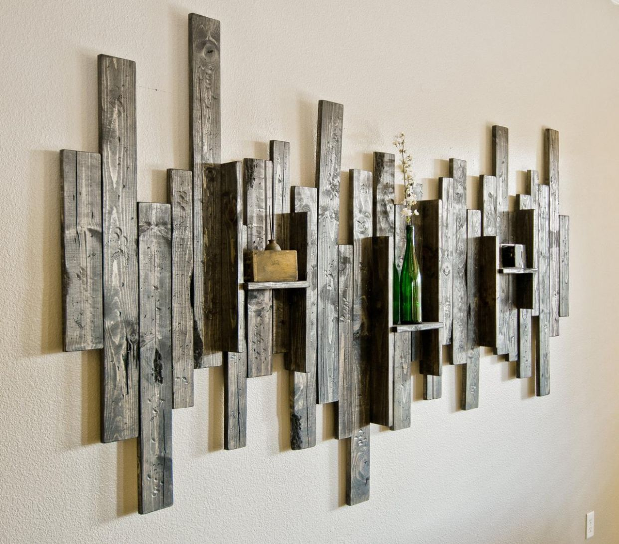 Abstract Wall Art and Shelf from Rustic Barn Wood - Decoration Ideas - wall decor ideas with wood