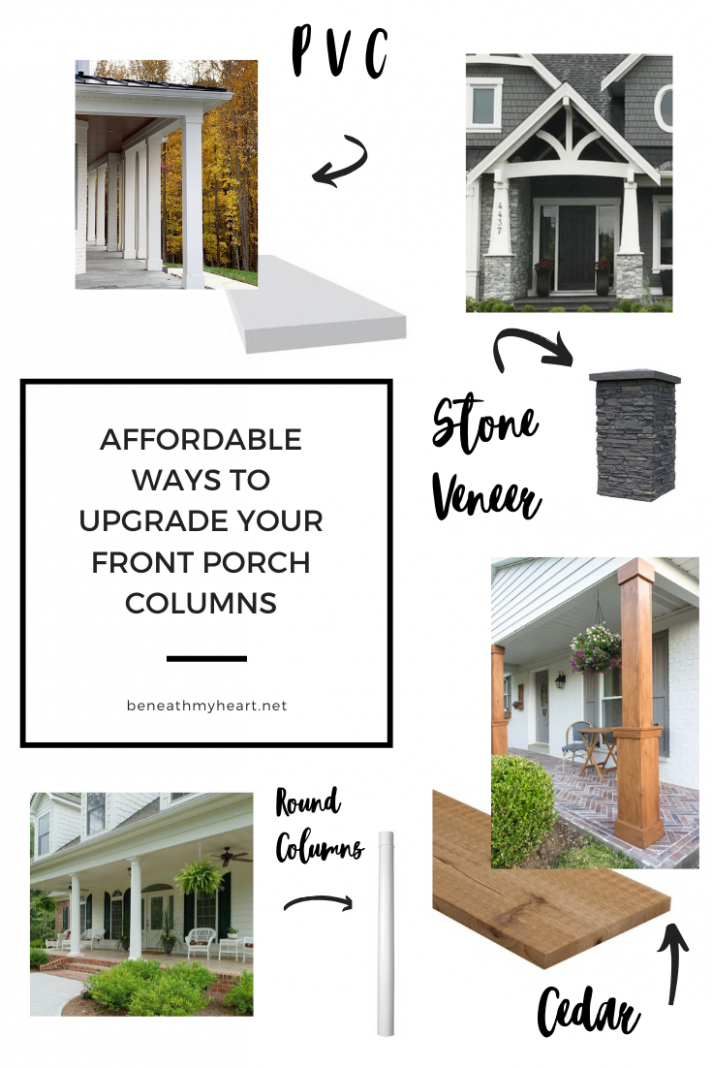 Affordable Ways to Upgrade Your Front Porch Columns - Beneath My Heart - front porch upgrade ideas