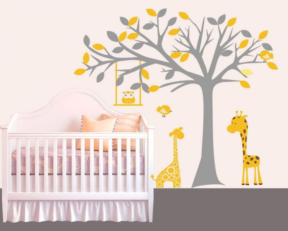 Amazon.com: designyours Cute Baby Room Tree Wall Decals Zoo Animal ..