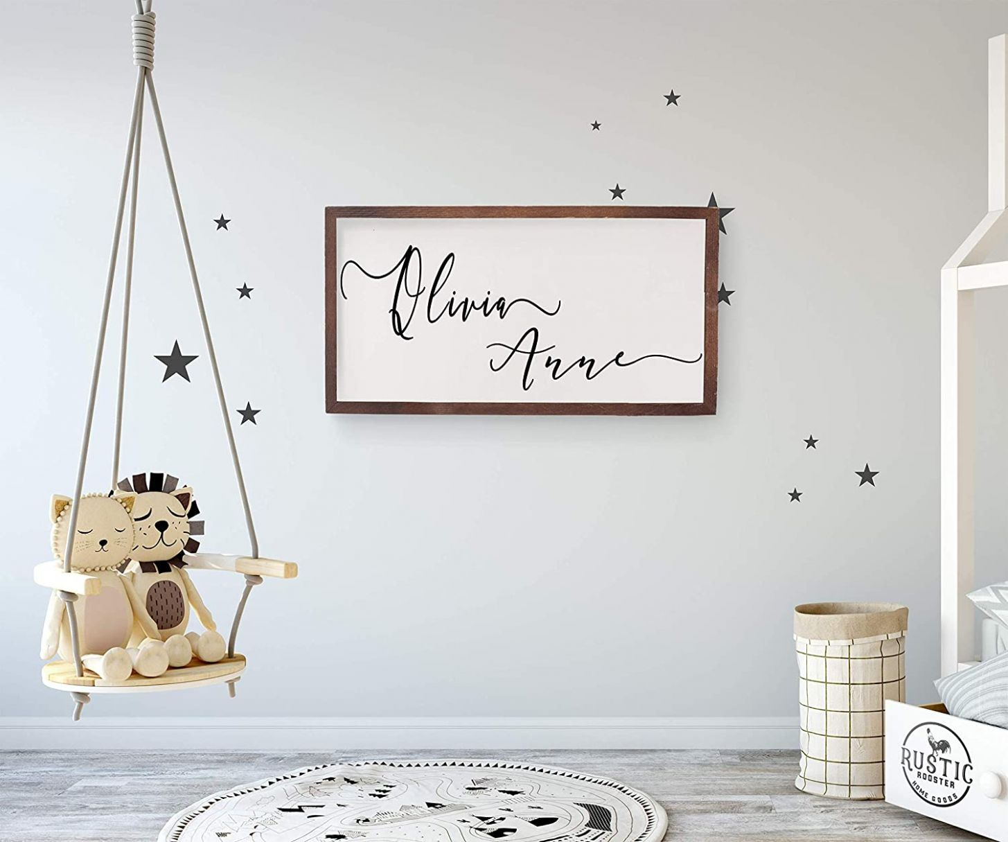 Amazon.com: Nursery name sign,custom wooden name sign for baby ...