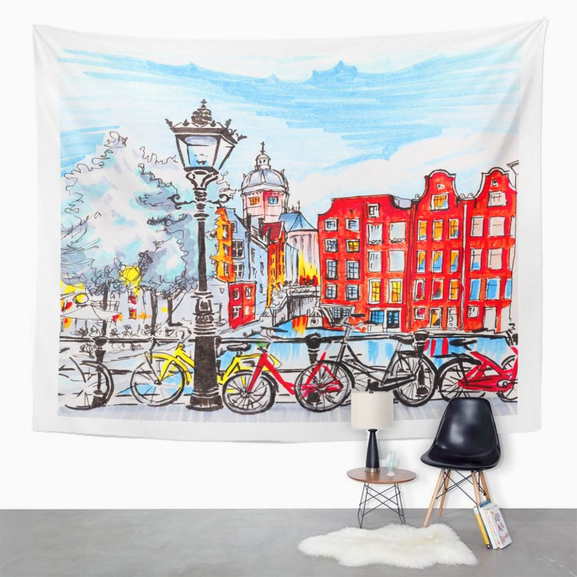 Amazon.com: TOMPOP Tapestry Color City View of Amsterdam Typical ...