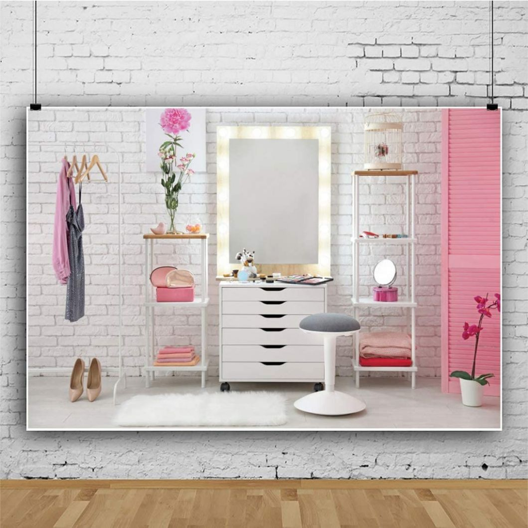AOFOTO 10x10ft Pink Makeup Room Interior Background for Photography Modern  Professional Room Salon White Wall Make-up Mirror Cosmetics and Tools on ..