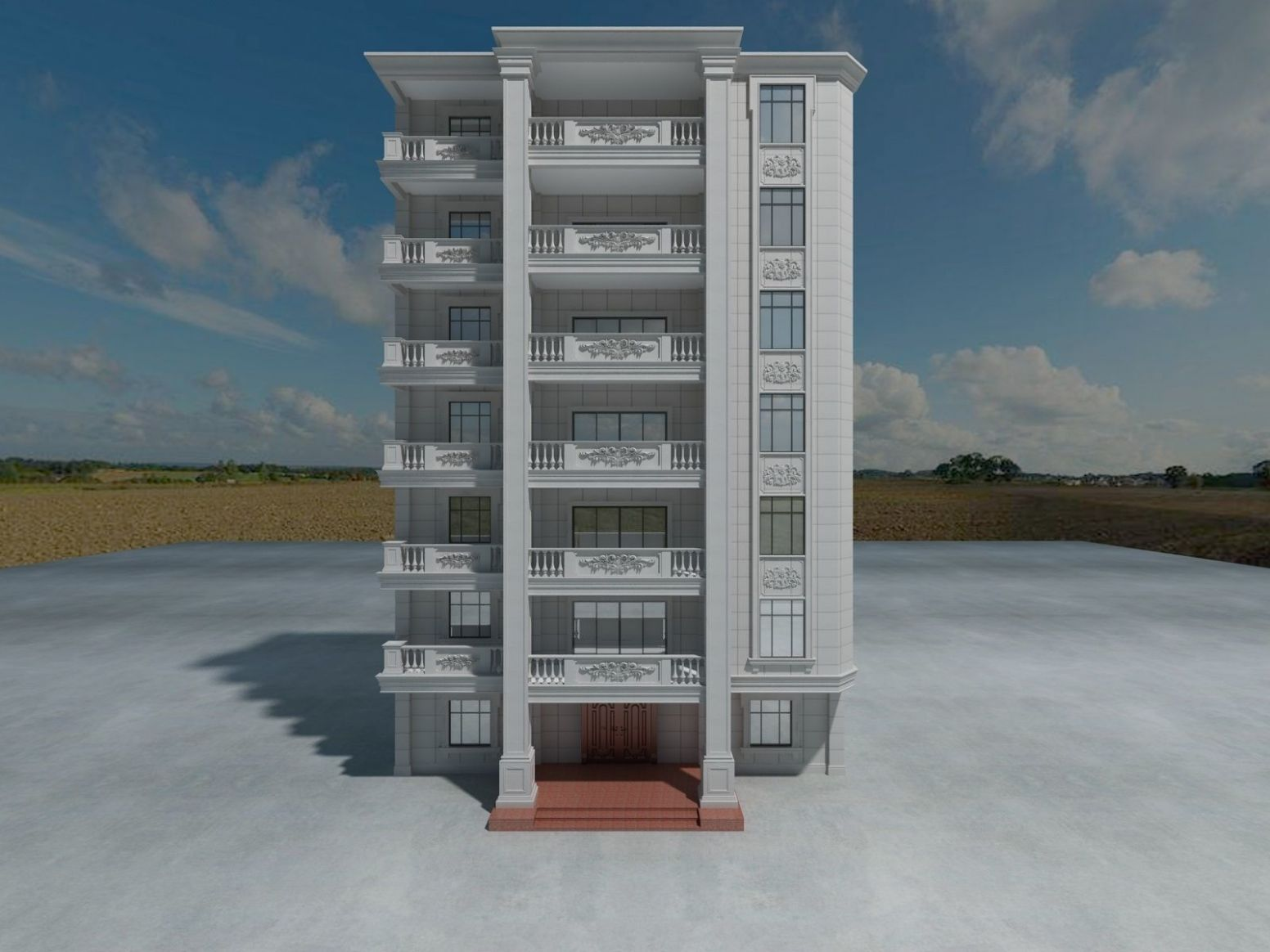 Apartment Building Front Design Only | 12D model - apartment design front