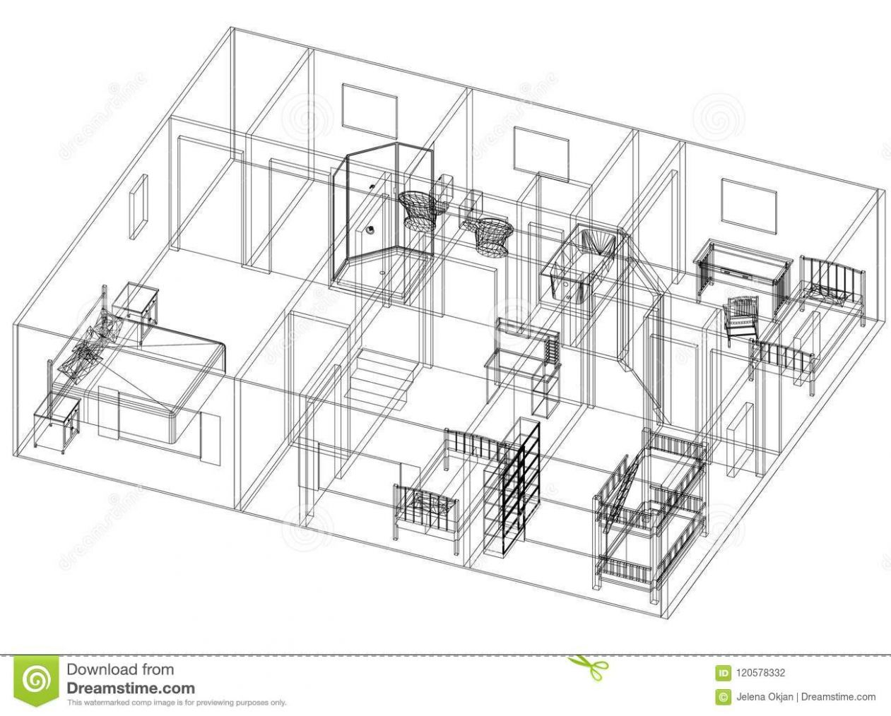 Apartment Design – Blueprint - Isolated Stock Illustration ...
