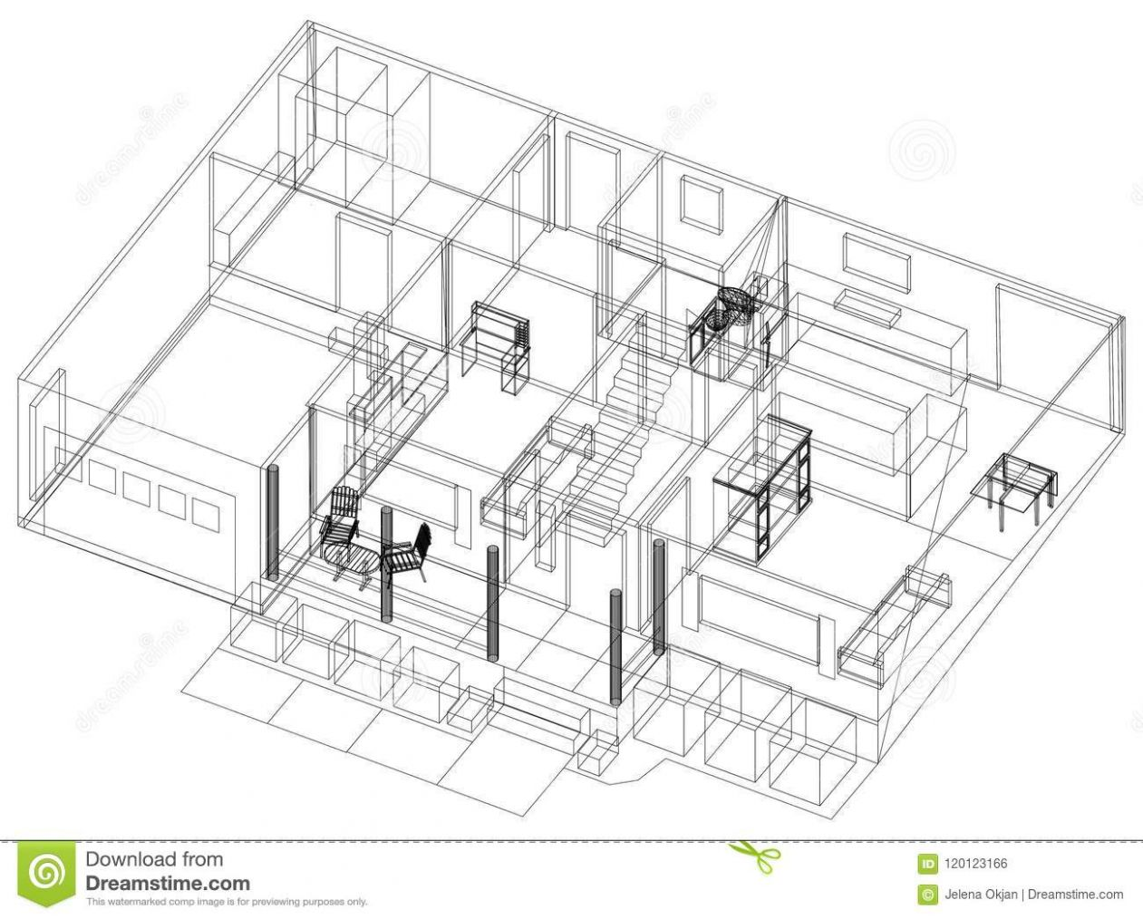 Apartment Design – Blueprint - Isolated Stock Illustration ..