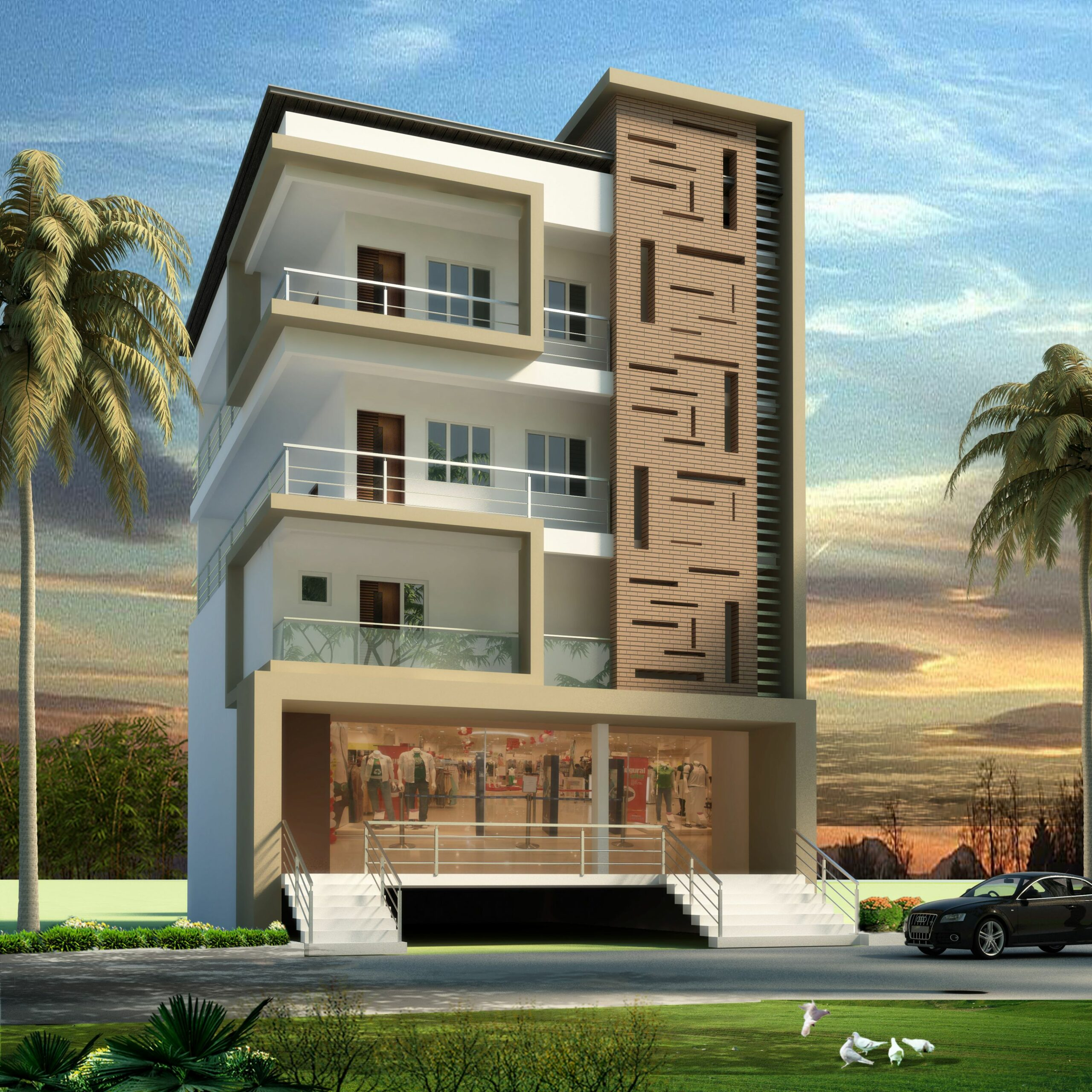 Apartment Elevation Design | House front design, House designs ..