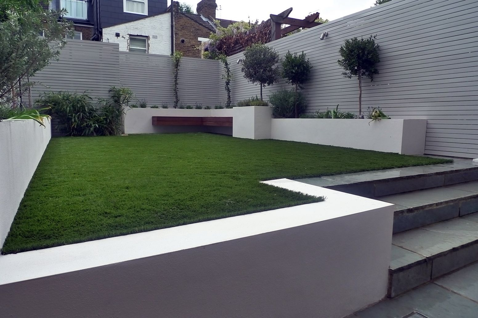 Artificial grass easi grass grey painted fences modern garden ...