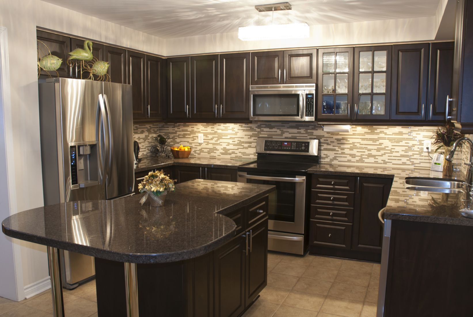 Attachment Kitchen Ideas Dark Brown Cabinets Wood And Tan Simple ...