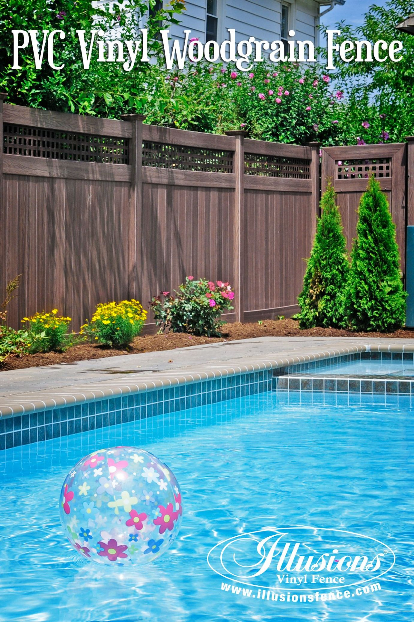 Awesome Pool Fence Idea of Walnut PVC Vinyl Privacy Fence from ...