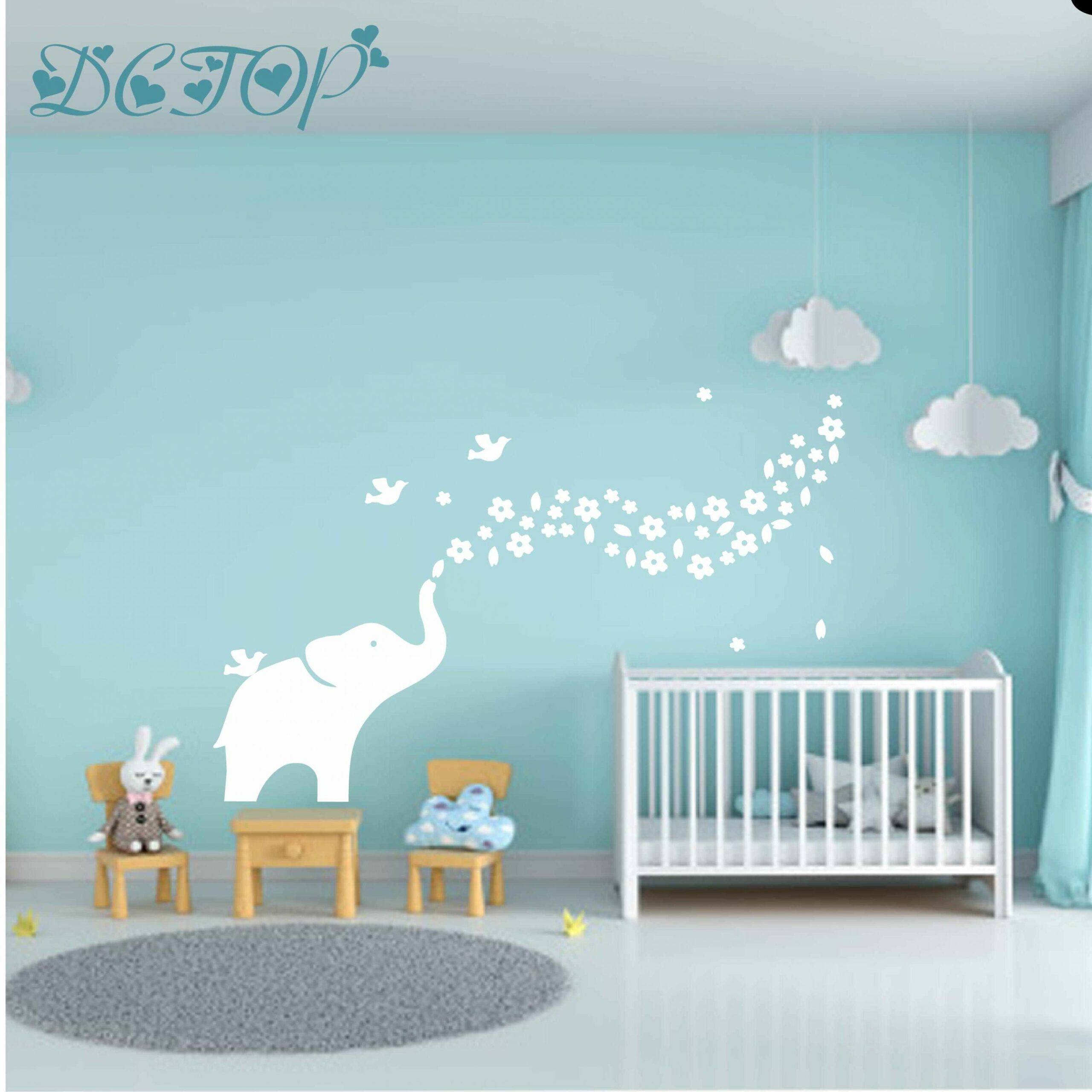 Baby Elephant Flowers Leaves Wall Sticker For Kids Baby Room Decor Home  Decoration Mural Decal Wallpaper Cartoon Animal Stickers - baby room elephant decor