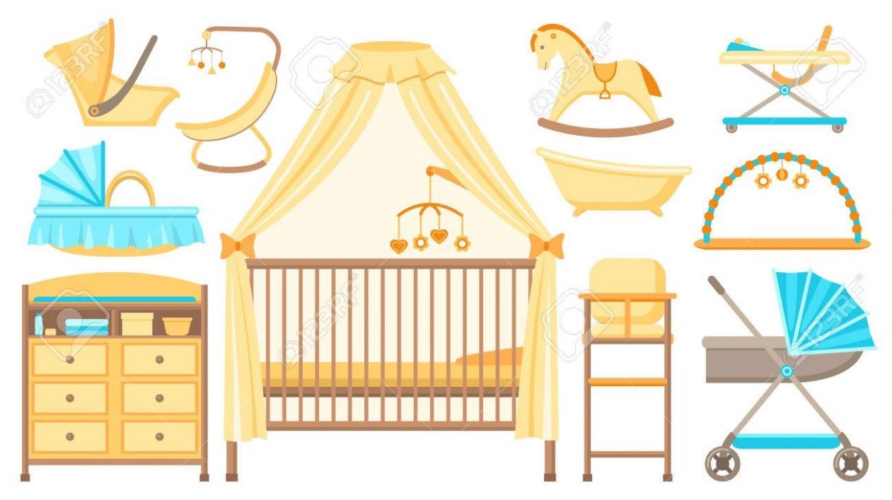 Baby furniture and equipment set. Cot, changing table, stroller,.