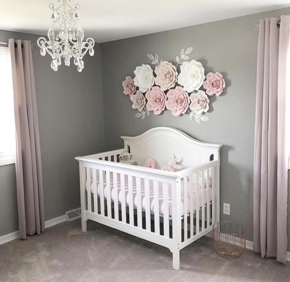 Baby girl flower wall nursery (With images) | Baby girl nursery ...