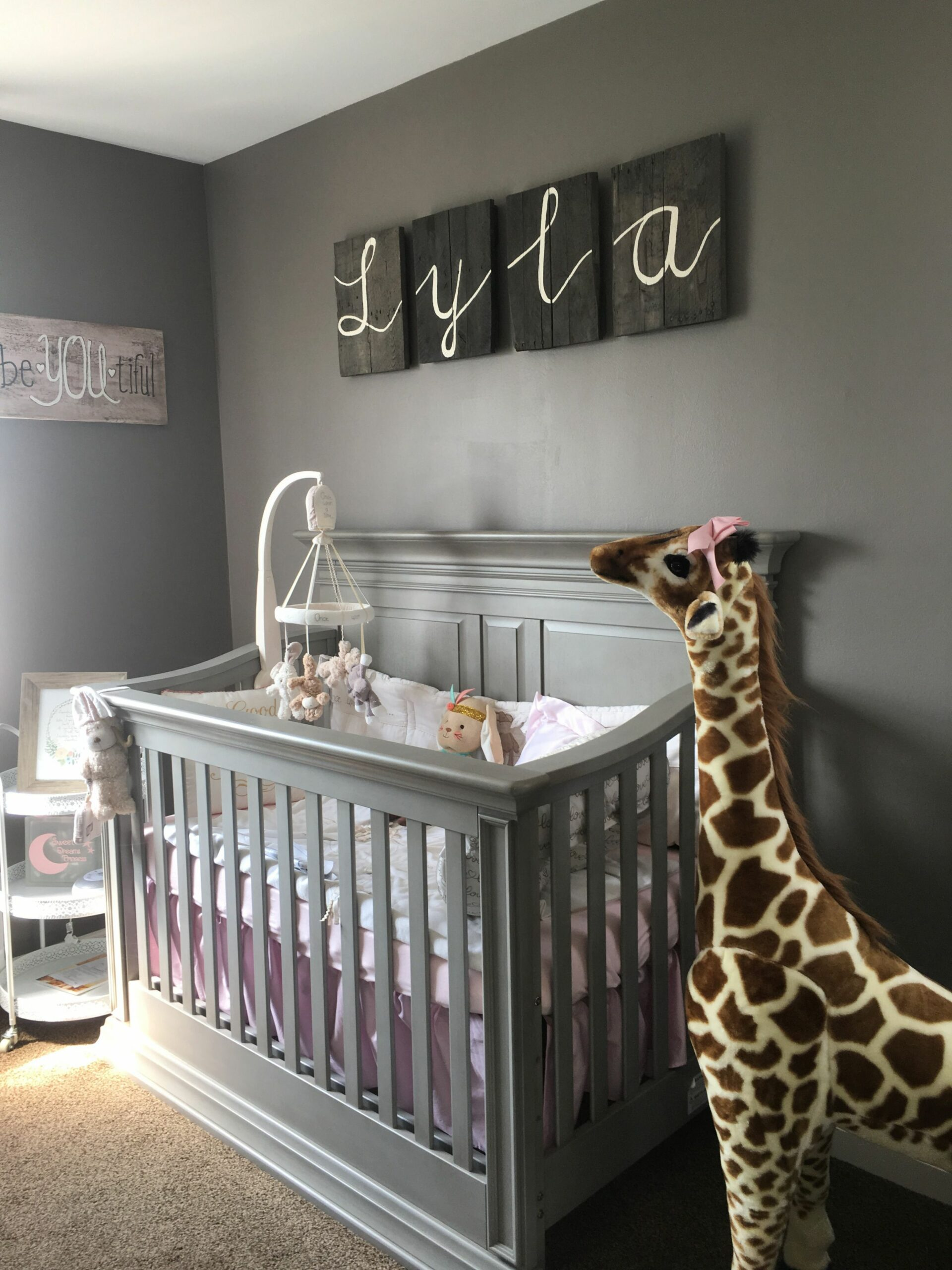 Baby nursery DIY gray furniture once upon a time bedding lily the ..