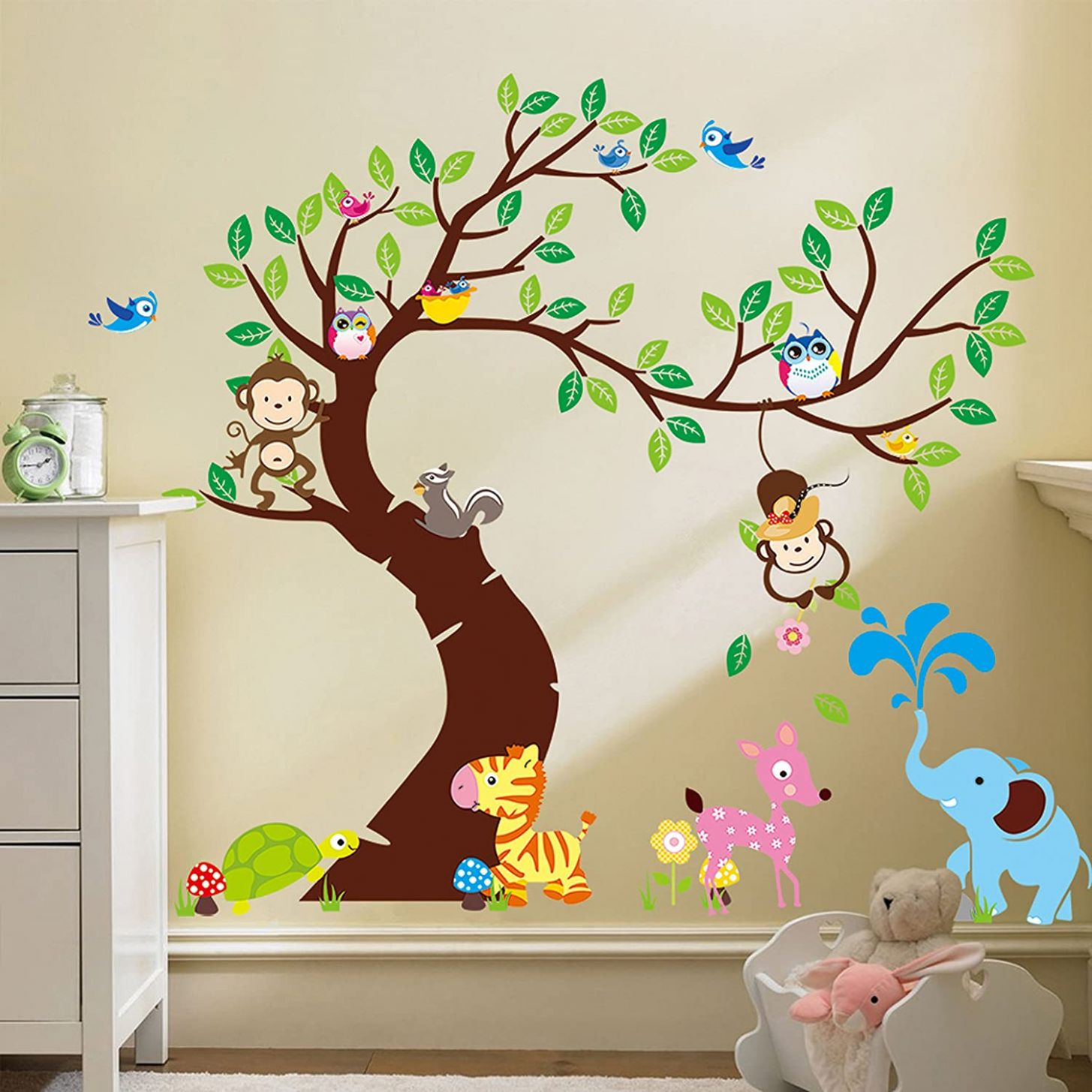 Baby Nursery Wall Decals Jungle Monkey Elephant Zoo Vinyl Wall Decal Sticker - baby room wall art