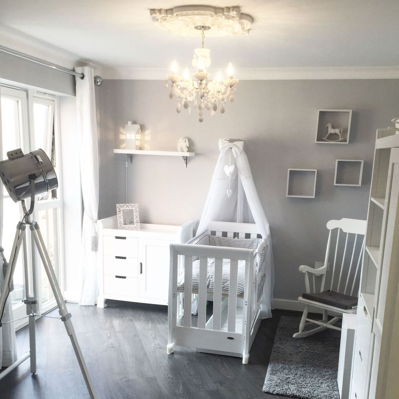 Baby room, Nursery grey & white. White Company, Dulux Night Jewel ..