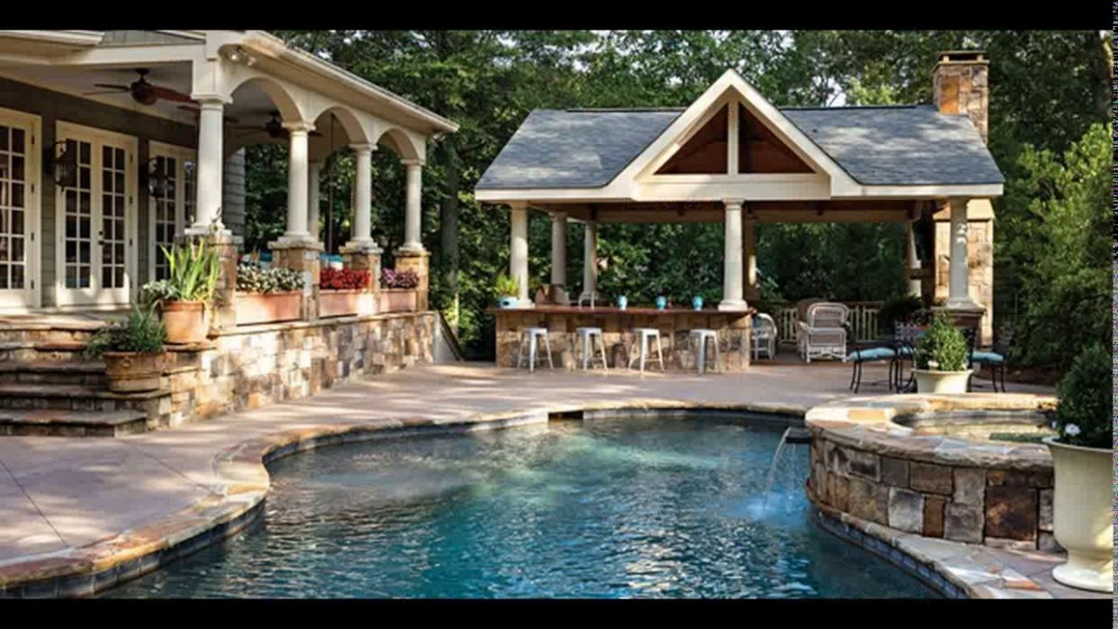 Backyard designs with pool and outdoor kitchen - YouTube - backyard pool kitchen ideas
